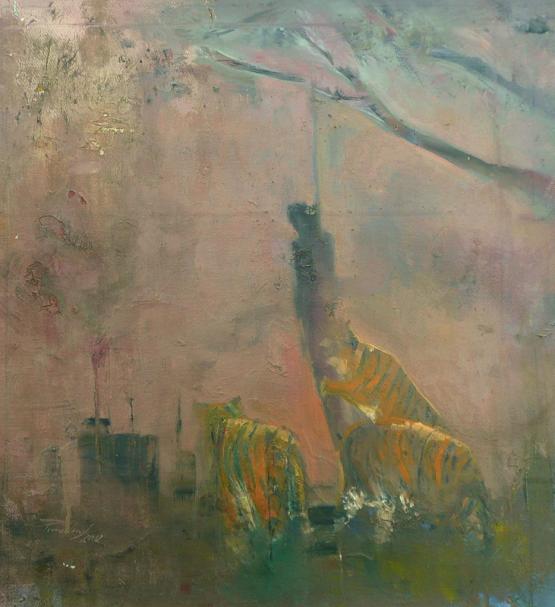 Pinczés József: Apokaliptikus romantika; 2012, 40x35 cm, olaj, vászon.