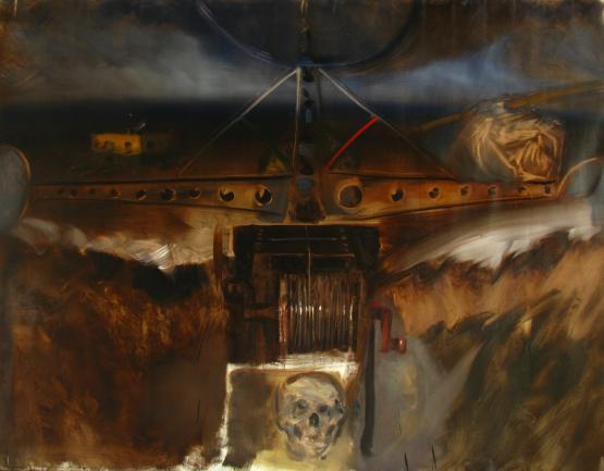 Horváth Roland: Éjjeli menedék; 2012, 160x200cm, olaj, vászon.