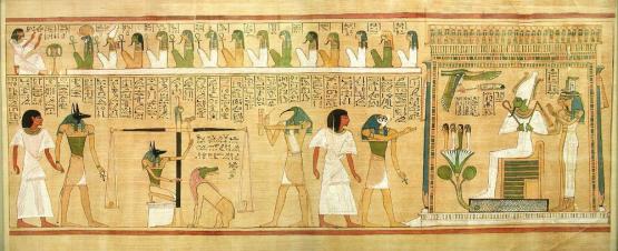 Egy oldal a huneferi Egyiptomi Halottak Könyvéből. Théba, 19. dinasztia